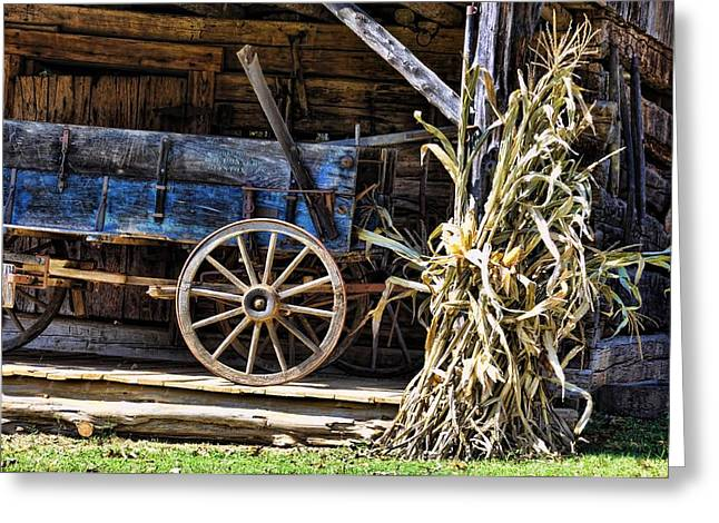 Corn Wagon Greeting Cards - October Barn Greeting Card by Jan Amiss Photography