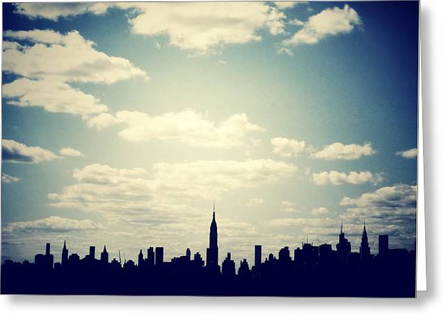 Times Square Digital Art Greeting Cards - October Blue in NYC Greeting Card by Natasha Marco
