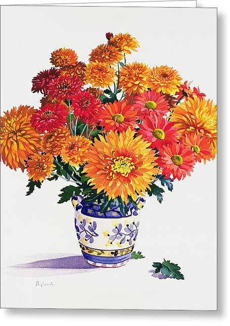 Chrysanthemum Greeting Cards - October Chrysanthemums Greeting Card by Christopher Ryland