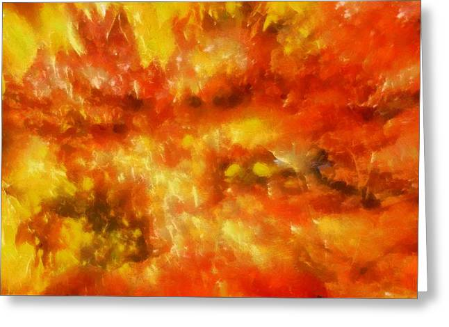Burst Paintings Greeting Cards - October Color Burst Greeting Card by Dan Sproul
