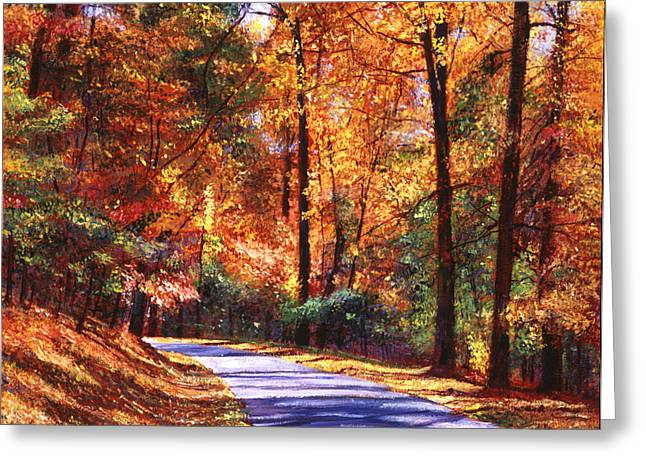 Roads Paintings Greeting Cards - October Colors Greeting Card by David Lloyd Glover