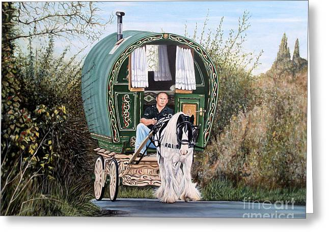 Romany Greeting Cards - October Drive Greeting Card by Caroline Collinson