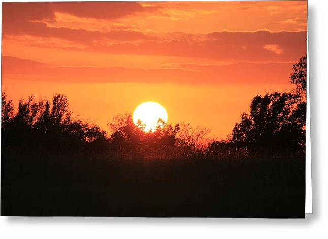 October East Texas Sunset Greeting Card by Lorri Crossno