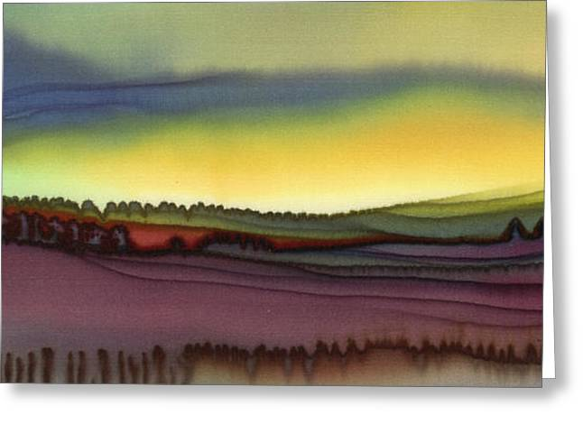 Dyes On Silk Greeting Cards - October Fields Greeting Card by Addie Hocynec