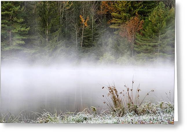 October Framed Greeting Cards - October Frost Landscape Greeting Card by Christina Rollo