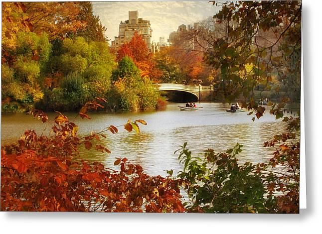 Sunlight Peaking Greeting Cards - October in Central Park Greeting Card by Jessica Jenney