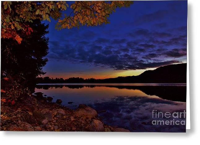Norwegian Sunset Greeting Cards - October evening in Norway Greeting Card by Gunn Samuelsen