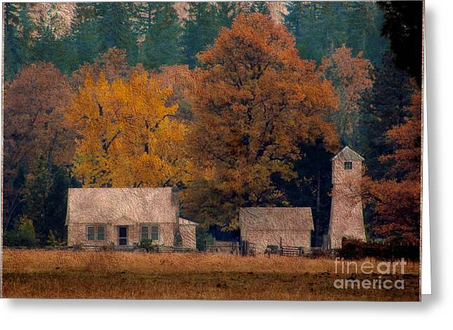 Fall Photos Mixed Media Greeting Cards - October in old ranch Greeting Card by Irina Hays