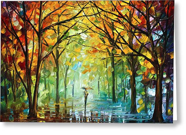 Original Greeting Cards - October in the Forest Greeting Card by Leonid Afremov