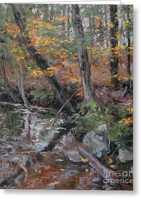 Gregory Arnett Paintings Greeting Cards - October Leaves Greeting Card by Gregory Arnett