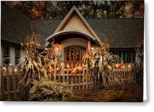 Cornstalks Greeting Cards - October Lights Greeting Card by Robin-lee Vieira