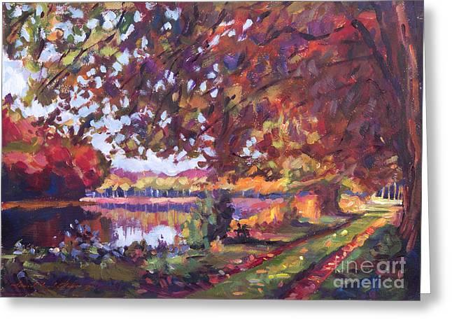 Maple Season Paintings Greeting Cards - October Mirror Lake Greeting Card by David Lloyd Glover