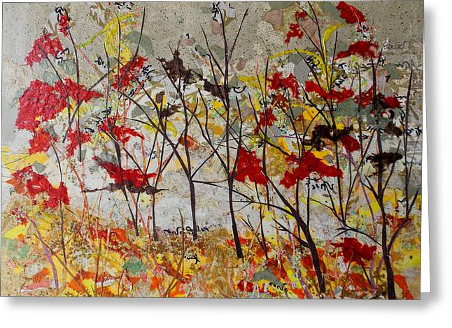 Kat Mixed Media Greeting Cards - October Mist Collage Greeting Card by Kat Ebert