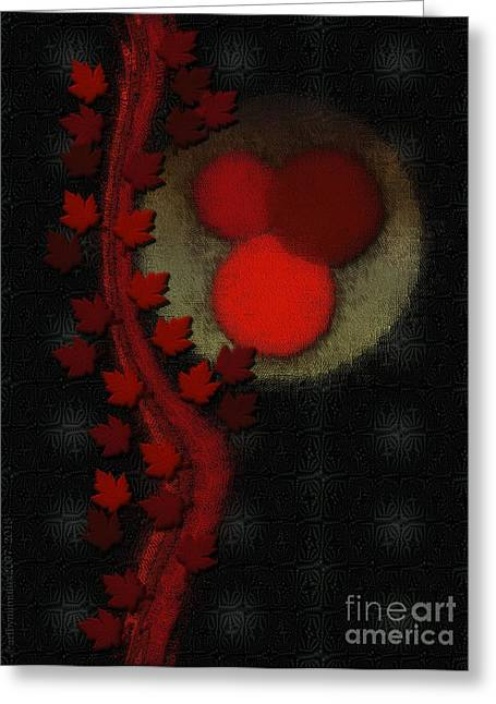 Tangerines Digital Greeting Cards - October Moon Greeting Card by Mimulux patricia no