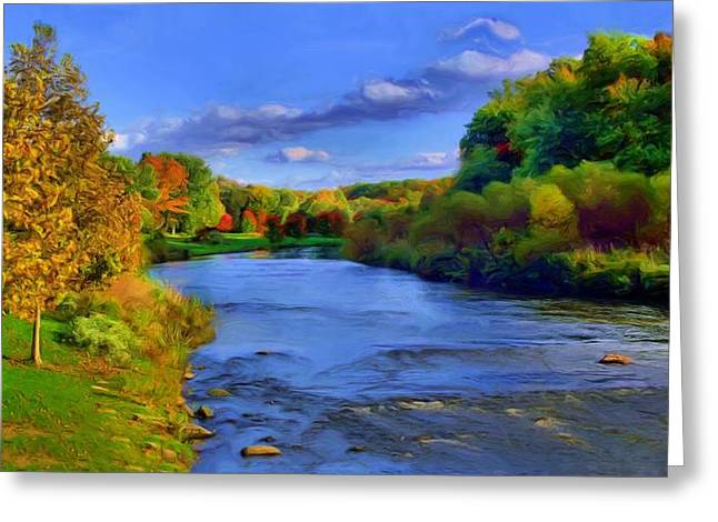 Munroe Falls Greeting Cards - October on the Cuyahoga Greeting Card by Dennis Lundell