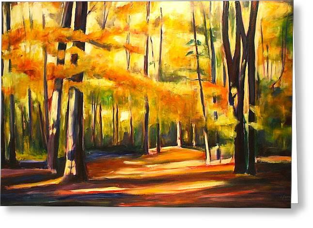 Sheila Diemert Paintings Greeting Cards - October Greeting Card by Sheila Diemert