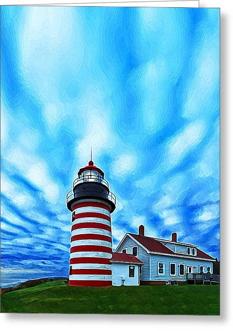 Maine Landscape Greeting Cards - October Sky at Quoddy Head Enhanced Greeting Card by Bill Caldwell -        ABeautifulSky Photography