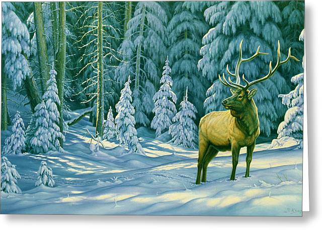 Elk Wildlife Greeting Cards - October Snow Greeting Card by Paul Krapf