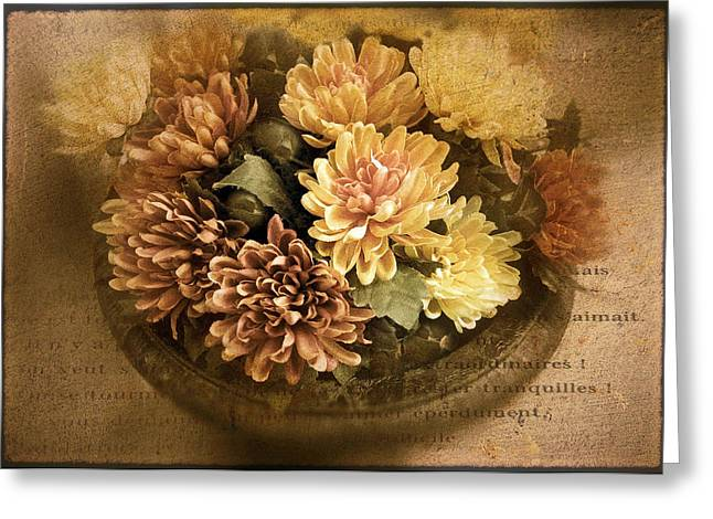 Texture Flower Greeting Cards - October Still Life Greeting Card by Jessica Jenney