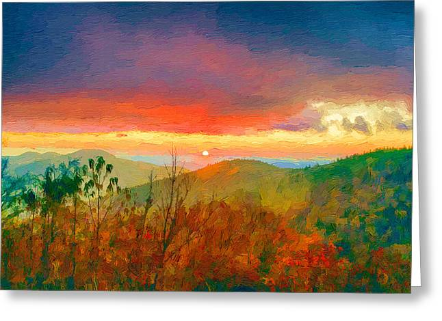 Falls Greeting Cards - October Sunrise Painting on the Blue Ridge Parkway Greeting Card by John Haldane