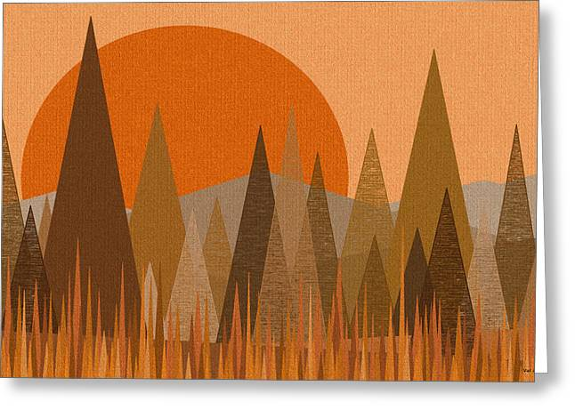 October Sunset Greeting Card by Val Arie