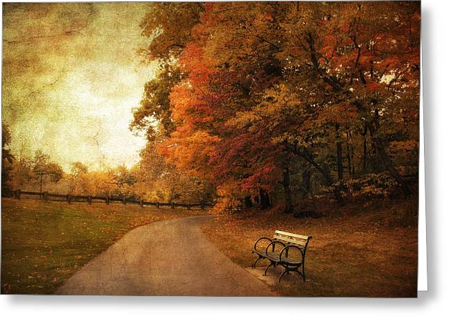 Autumn Landscape Digital Greeting Cards - October Tones Greeting Card by Jessica Jenney