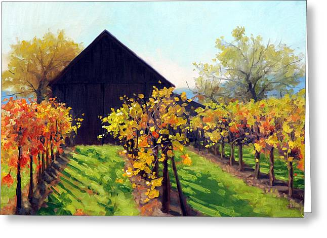Napa Valley Vineyard Greeting Cards - Octobers Golden Glow Greeting Card by Armand Cabrera