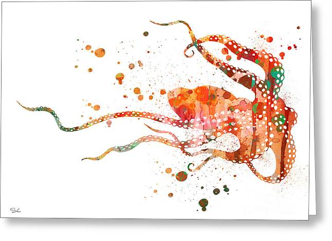 Sea Animals Greeting Cards - Octopus 2 Greeting Card by Luke and Slavi