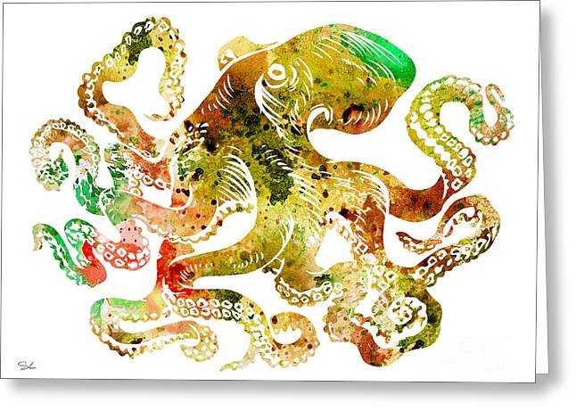 Sea Animals Greeting Cards - Octopus 6 Greeting Card by Luke and Slavi