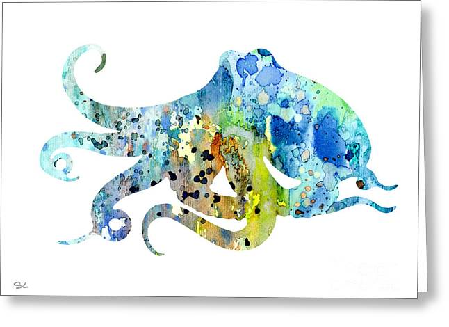 Sea Animals Greeting Cards - Octopus 7 Greeting Card by Luke and Slavi