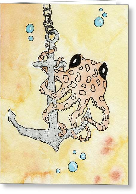 Anchor Underwater Greeting Cards - Octopus and Anchor Greeting Card by Melissa Rohr Gindling