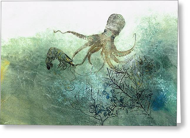 Fish Rubbing Greeting Cards - Octopus And Shrimp Greeting Card by Nancy Gorr