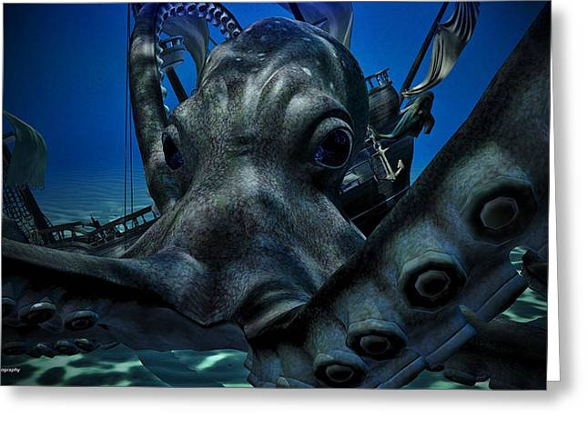 Anchor Underwater Greeting Cards - Octopus Attack Greeting Card by Todd and candice Dailey