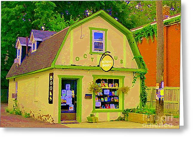 Octopus Bookstore 3rd Ave Bank Street Nepean The Glebe Paintings Of Ottawa Carole Spandau  Greeting Card by Carole Spandau