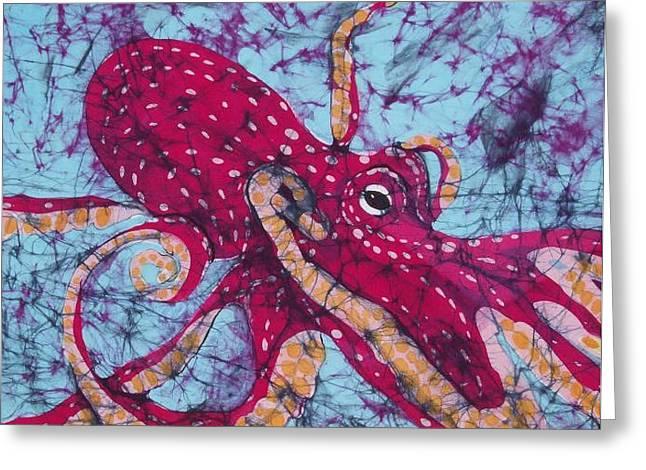 Fine Art Tapestries - Textiles Greeting Cards - Octopus Fine Art Batik Greeting Card by Kay Shaffer