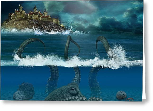 Sand Castles Greeting Cards - Octopus Sea Greeting Card by Becca Buecher