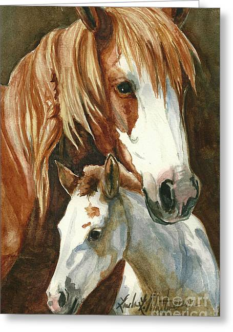 Wild Horses Greeting Cards - Oda and Hopscotch Greeting Card by Linda L Martin
