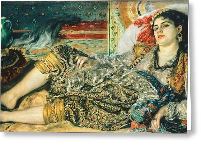 1874 Greeting Cards - Odalisque An Algerian Woman Greeting Card by Pierre Auguste Renoir
