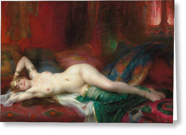 Figures Paintings Greeting Cards - Odalisque Greeting Card by Henri Adrien Tanoux