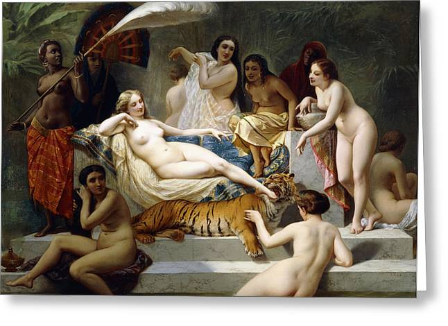 Harem Paintings Greeting Cards - Odalisque Greeting Card by Henri Pierre Picou