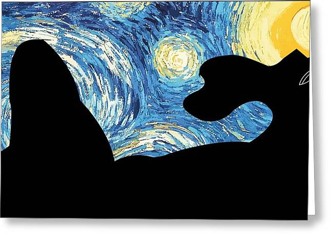 Odalisque Digital Art Greeting Cards - Odalisque on a Starry Night Greeting Card by Seemab Zaheera