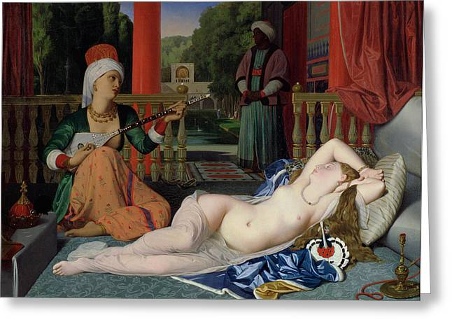 Figures Paintings Greeting Cards - Odalisque with Slave Greeting Card by Ingres
