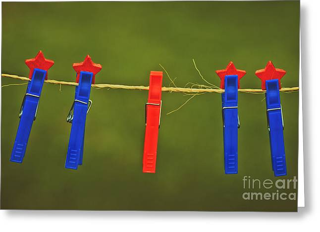 Clothes Pins Greeting Cards - Odd One Out Greeting Card by Carolyn Rauh