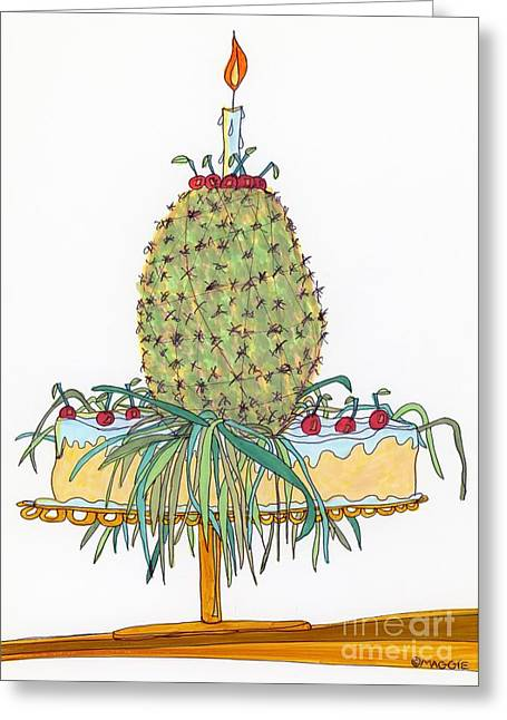Golden Brown Drawings Greeting Cards - Odd Pineapple Upside-Down Cake Greeting Card by Mag Pringle Gire