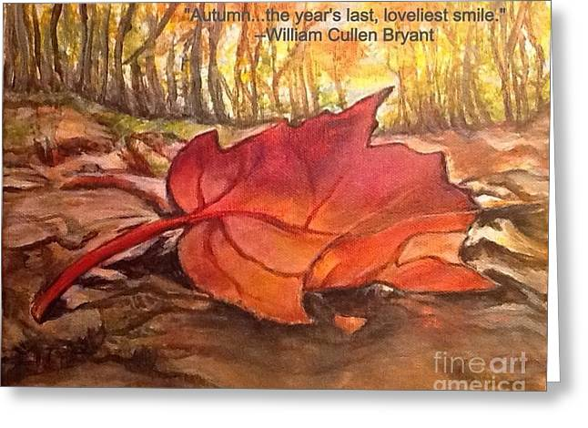 Turning Leaves Digital Art Greeting Cards - Ode to a Fallen Leaf Painting with Quote Greeting Card by Kimberlee  Baxter