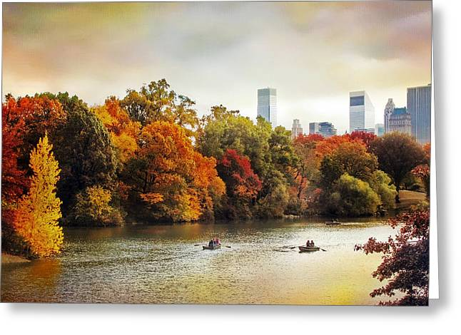Rowing Digital Art Greeting Cards - Ode to Central Park Greeting Card by Jessica Jenney