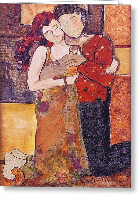 Knelt Mixed Media Greeting Cards - Ode to Klimt Greeting Card by Debi Starr