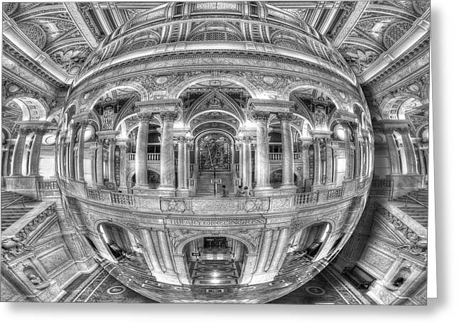 Warp Mixed Media Greeting Cards - Ode To MC Escher Library of Congress Orb Greeting Card by Tony Rubino