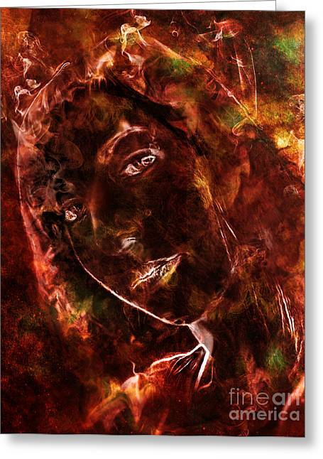 Element Of Fire Greeting Cards - Ode to the Girl on Fire Greeting Card by Michael  Volpicelli