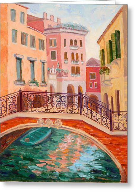 Gondolier Greeting Cards - Ode to Venice Greeting Card by Karin  Leonard